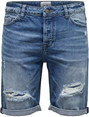 ONLY & SONS Destroyed Denim Shorts