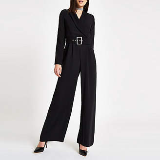 River Island Black tux rhinestone buckle wide leg jumpsuit