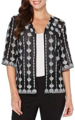 Rafaella Embroidered Mesh Cardigan