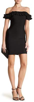 Wow Couture Ruffled Off-the-Shoulder Bandage Dress