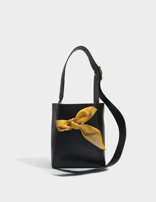 Calvin Klein Small Bucket Bandana Bag in Black Calf