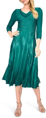 Komarov Beaded V-Neck Cocktail Dress