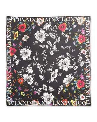 McQ Alexander McQueen Floral Silk Square Scarf, Black $275 thestylecure.com