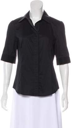 Magaschoni Short Sleeve Button-Up Top