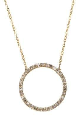 Lord & Taylor 14K Yellow Gold Diamond Circle Necklace