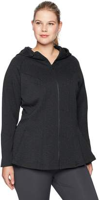 aa251382cf1bf Core 10 Women s Plus Size Tech Fleece Fitted Peplum Full-Zip Hoodie