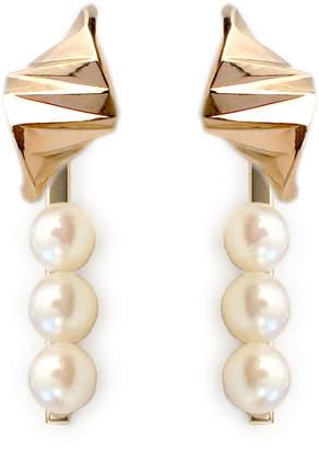 S/H Koh 14k Gold Onda Wave Stud Earrings & Triple Pearl Earring Jackets