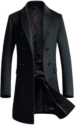 OCHENTA Men's Slim Fit Winter Wool Peacoat Overcoat Black US XS - Asian M