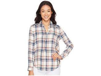 Lucky Brand Embroidered Plaid Top Women's Clothing