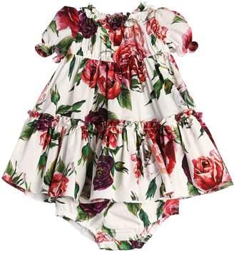 Dolce & Gabbana Roses Cotton Poplin Dress & Diaper Cover