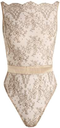 COCO DE MER Angelique embroidered-tulle bodysuit