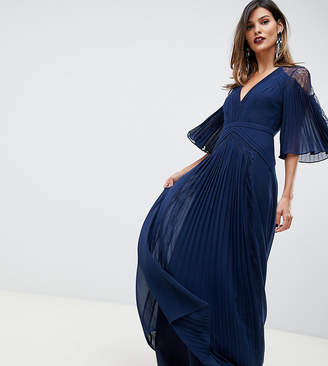 Asos Design DESIGN pleated panelled flutter sleeve maxi dress with lace inserts