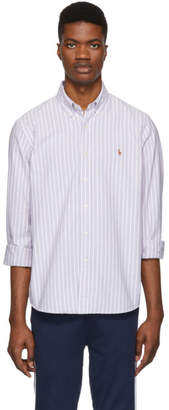 Polo Ralph Lauren Purple and White Striped Oxford Shirt