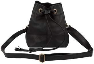 MAHI Leather - Mini Bucket Drawstring Bag In Ebony Black Leather