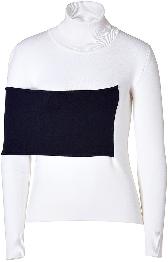 J.W.Anderson Merino Wool Blend Turtleneck Pullover in White/Navy