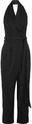 Diane von Furstenberg - Polka-dot Silk-blend Wrap Jumpsuit - Black $500 thestylecure.com