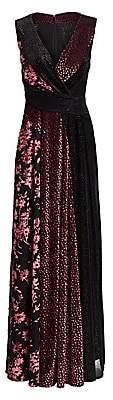 Talbot Runhof Women's Mikado Organza Cloque Cap Sleeve A-Line Gown