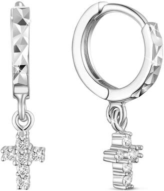 Silver Cross SHEGRACE 925 Sterling Dangle Earrings for Girls with Cirle Ear Studs