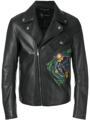 Versace logo print biker jacket