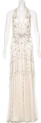 Jenny Packham Embellished Halter Gown
