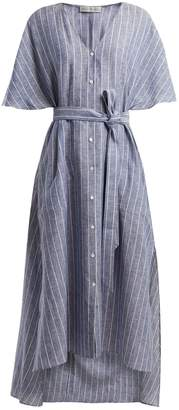 Palmer Harding PALMER/HARDING Striped tie-waist linen dress