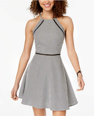B. Darlin Juniors' Gingham Fit & Flare Dress