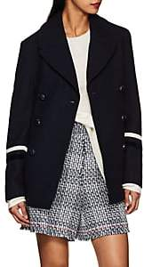 Gracia THE GIGI Women's Velvet-Trimmed Wool Peacoat - Navy