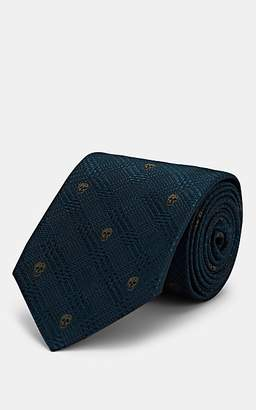 Alexander McQueen Men's Checked Skull Silk Necktie - Blue