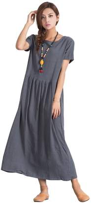 Grace Women's Linen Cotton Long Dress Soft Loose Clothing a39