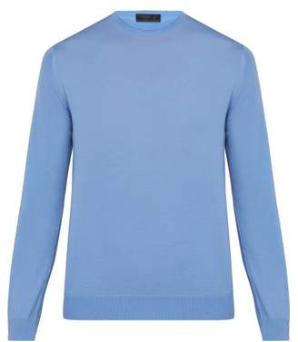 Prada Crew Neck Wool Sweater - Mens - Blue