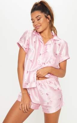 PrettyLittleThing Pink Unicorn Print Satin Pyjama Set