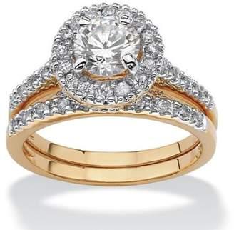 PalmBeach Jewelry Palm Beach Jewelry 1.79 TCW Round Cubic Zirconia 18k Gold-Plated Bridal Engagement Ring Wedding Band Set