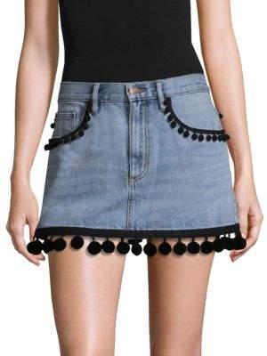 Marc Jacobs Pom-Pom Trim Denim Mini Skirt