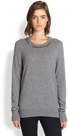 Equipment Shane Wool & Cashmere Embellished-Neck Sweater