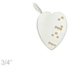 Metal Pressions Silver Heart with Rose Gold LOVE in Braille
