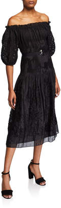 Max Studio Off-the-Shoulder Embroidered Smocked Maxi Dress