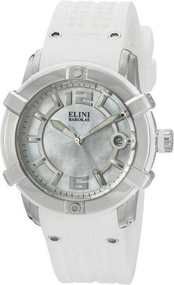 Elini Barokas Women's 'Spirit' Swiss Quartz Stainless Steel and Silicone Automatic Watch, White (Model: 20005-02-WHT)