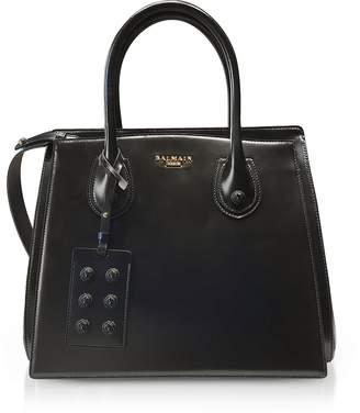 Balmain 3D Black Glossy Leather Top Handle Bag