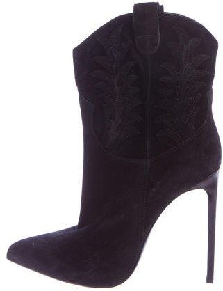 Saint LaurentSaint Laurent Cowboy Suede Pointed-Toe Boots w/ Tags