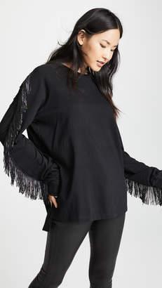 Baja East Beaded Fringe Long Sleeve Shirt