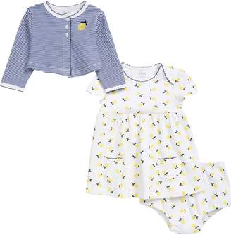 Little Me Lemon Dress & Cardigan Set