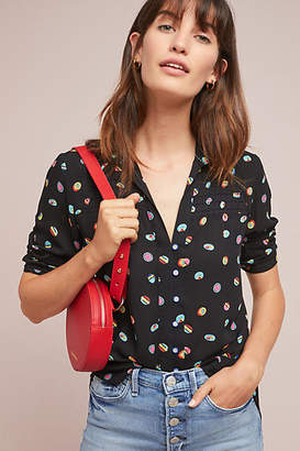 Anthropologie 52 Conversations by Colloquial Pintucked Buttondown