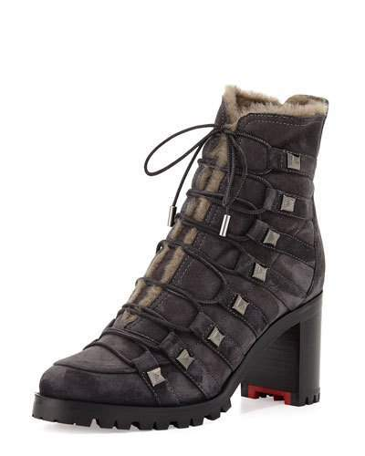 Christian Louboutin Christian Louboutin Chaletta Suede Shearling-Lined 70mm Red Sole Bootie, Dark Gray