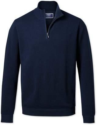 Charles Tyrwhitt Navy Zip Neck Thermocool Wool Sweater Size Small