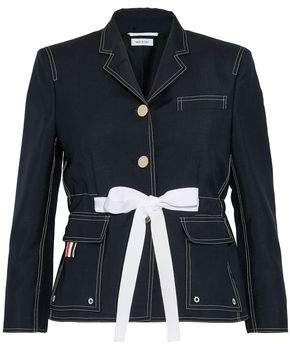 Thom Browne Tie-Front Mohair And Wool-Blend Jacket