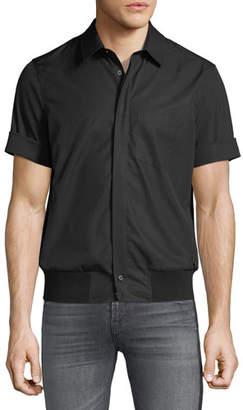 Neil Barrett Men's Rib-Trim Short-Sleeve Shirt