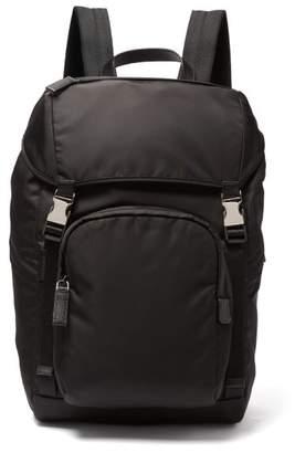 Prada Buckled Nylon Backpack - Mens - Black