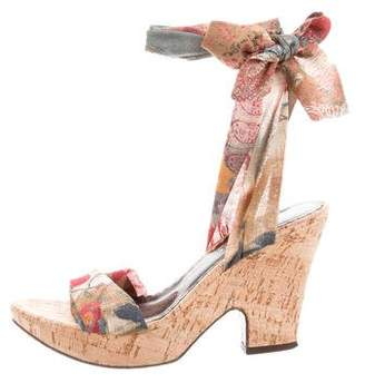 Donald J Pliner Silk Wrap-Around Wedges