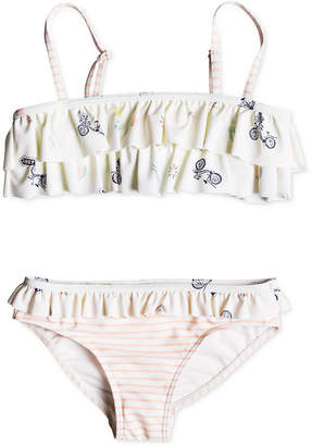 Roxy Little Girls 2-Pc. Ruffle-Trim Bikini