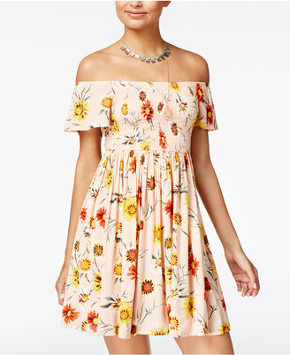 American Rag Printed Off-The-Shoulder Fit & Flare Dress, Created for Macy's $69.50 thestylecure.com